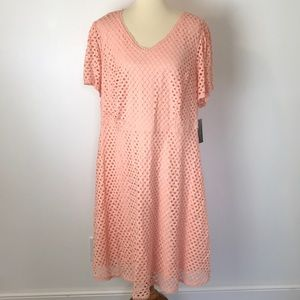 Sharagano Peach Lace Fit and Flare Dress NWT